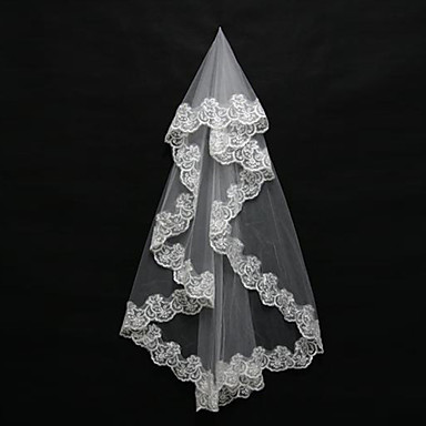 One-tier Lace Applique Edge Wedding Veil Blusher Veils Shoulder Veils Elbow Veils Fingertip Veils 53 Appliques Tulle