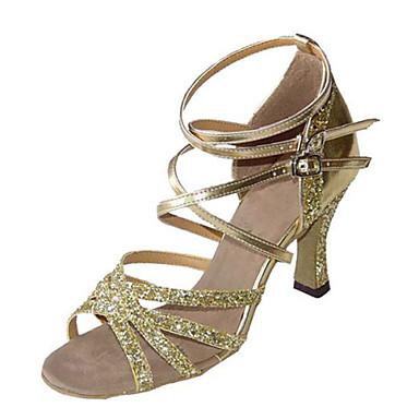 Women's/Kids' Dance Shoes Latin/ Swing/Samba Leatherette /Paillette /Taffeta Chunky HeelBlack/Brown/