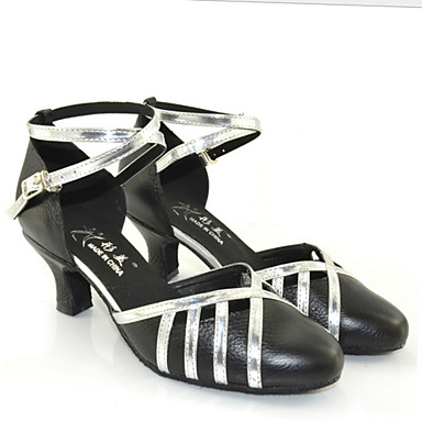 Women's Latin Leatherette Sneaker Indoor Outdoor Chunky Heel Black and Sliver Customizable
