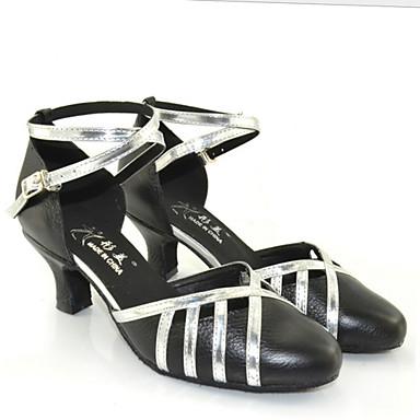 Kadın's Latin Dans Ayakkabıları Yapay Deri Spor Ayakkabı Kalın Topuk Kişiselleştirilmiş Dans Ayakkabıları Siyah Şerit / İç Mekan