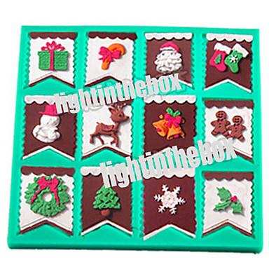 Natal bunting bandeira santa snowman candy bar sock sino árvore diy silicone chocolate pudim açúcar bolo moldar cor aleatória