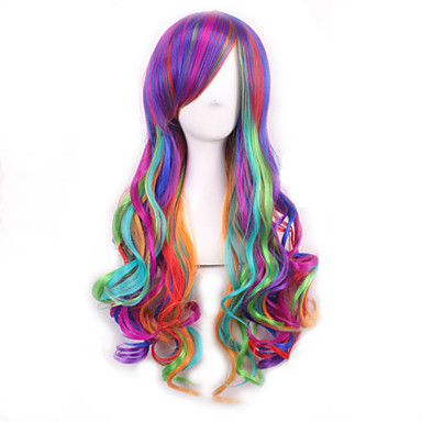 Syntetiske parykker Krøllet / Krop Bølge Asymmetrisk frisyre Syntetisk hår Naturlig hårlinje Lilla Parykk Dame Lang Cosplay-parykk /