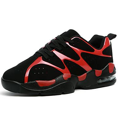 Herren-Sneaker-Sportlich-PU-Flacher Absatz-Komfort-Schwarz Rot Weiß