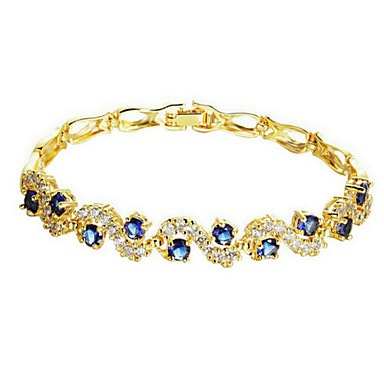 Women's Chain Bracelet Fashion Zircon Cubic Zirconia Gold Plated Jewelry Wedding Party Daily Casual Sports Costume Jewelry