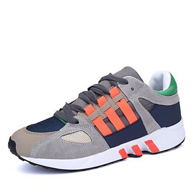 Sneakers-Ruskind Tyl-Komfort-Herre-Sort Blå Orange-Udendørs Fritid Sport-Flad hæl