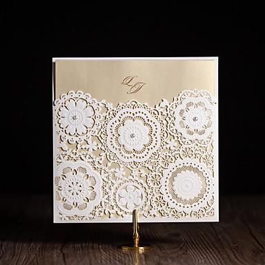Dobrados Convites de casamento Cartões de convite Estilo Floral Arte de Papel Flores
