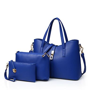 Női Táskák PU Kéztáska / Válltáska / táska szettek 3 db erszényes készlet Szegecs Piros / Kék / Rózsaszín