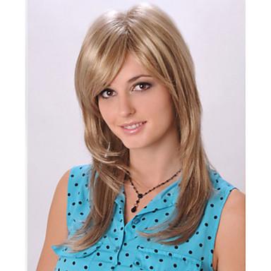 Fashionable Sweet Side Bang Gloden Medium Length  Synthetic Hair Wig