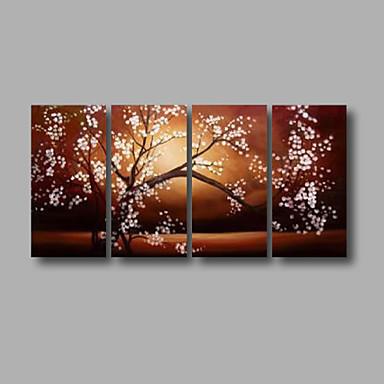 Hang-Boyalı Yağlıboya Resim El-Boyalı - Çiçek / Botanik Modern Tuval Dört Panelli