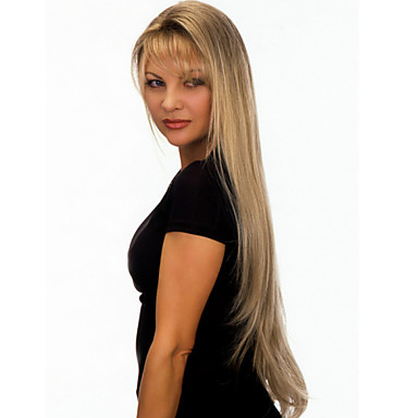 Synthetic Wig Straight With Bangs Synthetic Hair Blonde Wig Women's Long Capless