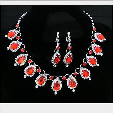 קריסטל פרנזים סט תכשיטים - זירקוניה מעוקבת טיפה מסיבה לִכלוֹל אדום / כחול עבור / עגילים / שרשראות