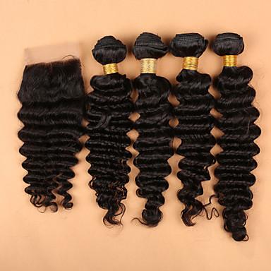 Hair Vetülék, zárral Perui haj Mély hullám haj sző