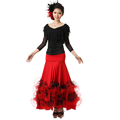Ballroom Dance Outfits Women's Performance Crepe Silk Draped 2 Pieces Top Skirt