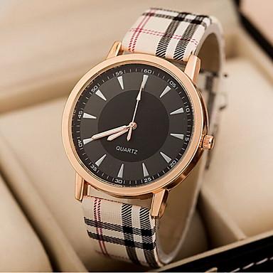 Women's Fashion Watch Quartz Casual Watch PU Band Stripes Blue Pink Khaki