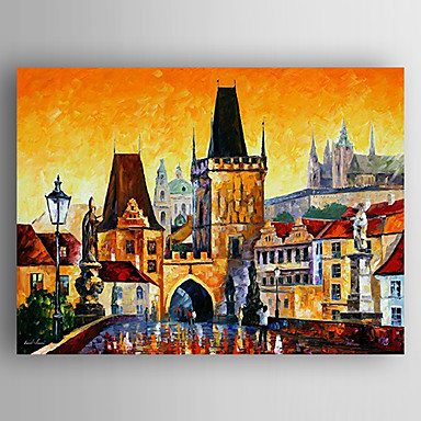 Oil Painting Buildings Landscape Hand Painted Canvas with Stretched Framed Ready to Hang