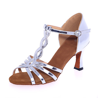 Women's Latin Leatherette Sandal Indoor Performance Professional Practice Buckle Flared Heel Silver Gold 2 - 2 3/4inch Non Customizable