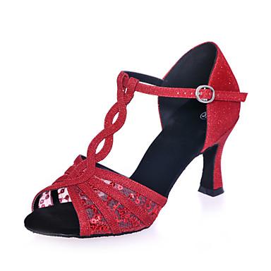 54e8f6ab5b67 Παπούτσια χορού λάτιν Δίχτυ / Γκλίτερ Πέδιλα Κόψιμο Τακούνι καμπάνα  Εξατομικευμένο Παπούτσια Χορού Μαύρο / Καφέ / Κόκκινο / Επίδοση