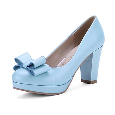 Sko-PU-Tykk hæl-Hæler / Rund tå-høye hæler-Kontor og arbeid / Fritid-Blå / Rosa / Hvit
