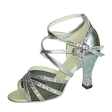 Sapatos de Dança (Roxo / Prateado / Dourado) - Feminino - Não Personalizável - Latina / Salsa / Samba / Sapatos de Swing