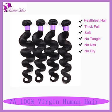 baratos Extensões de Cabelo Natural-4 pacotes Cabelo Brasileiro Onda de Corpo Clássico 10A Cabelo Virgem Cabelo Humano Ondulado Tramas de cabelo humano Extensões de cabelo humano