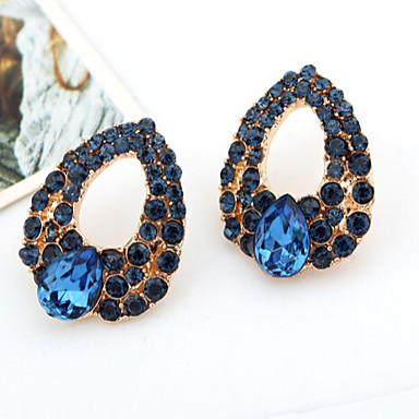 Dame Krystall Dråpeøreringer - Kubisk Zirkonium, Fuskediamant Dråpe Luksus Blå Til