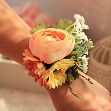 Düğün Çiçekleri Yuvarlak Güller Bilek Çiçekleri Düğün Parti/Gece Polyester Saten 4.33