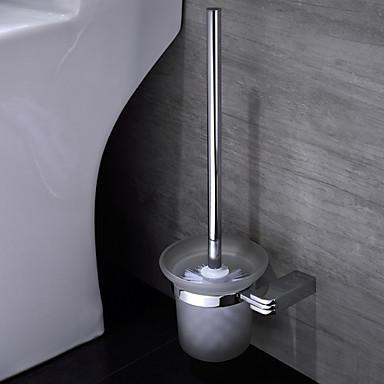 Suporte para Escova de Banheiro Cromado De Parede 15*13.5*38cm Latão Contemporâneo