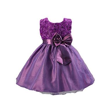Χαμηλού Κόστους Φορέματα για κορίτσια-Παιδιά Κοριτσίστικα Γλυκός Πάρτι Μονόχρωμο Φλοράλ Φιόγκος Αμάνικο Βαμβάκι Ακρυλικό Πολυεστέρας Φόρεμα Κόκκινο