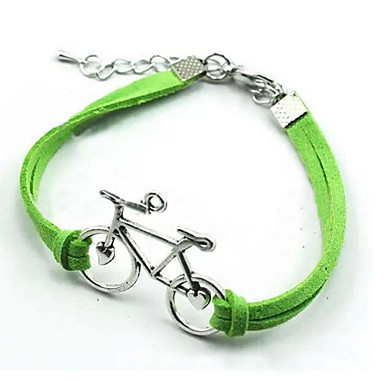 Women's Leather Bracelet - Silver Plated Bike, Love Bracelet White / Black / Green For Christmas Gifts / Party / Daily