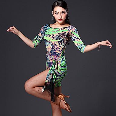 Dança Latina Roupa Mulheres Actuação Náilon Chinês Pano 3 Peças Vestidos Cinto Shorts M: 61-91   L: 63-93   XL: 65-95