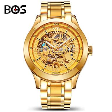 AngelaBOS Erkek Bilek Saati Otomatik kendi hareketli Derin Oyma Paslanmaz Çelik Bant Altın Rengi