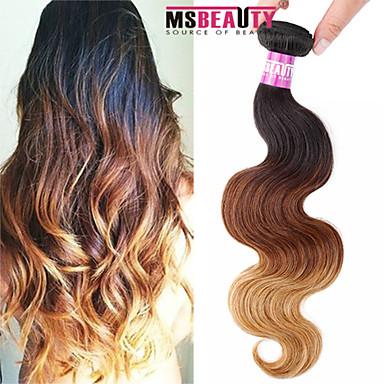 Düz Brezilya Saçı Vücut Dalgası İnsan saç örgüleri 1 Parça 0.1