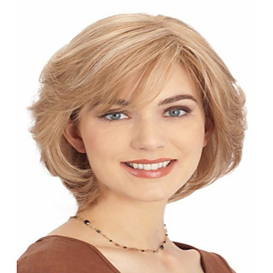 Women Synthetic Wig Capless Short Straight Blonde Bob Haircut Halloween Wig Carnival Wig Costume Wig
