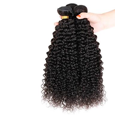 Emberi haj Burmai haj Az emberi haj sző Kinky Curly afro Göndör fürtök Póthajak 3 darab Természetes szín