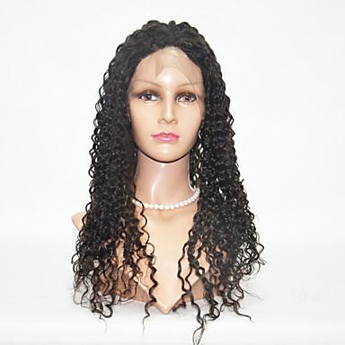 Menneskehår Helblonde / Blonde Front Paryk Kinky Curly Paryk 130% Ombre-hår / Natural Hairline / Afro-amerikansk paryk Dame Kort / Medium / Lang Blondeparykker af menneskehår / Kinky Krøller