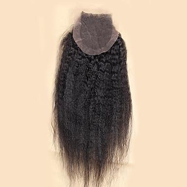 10-20inch Koromfekete (#1B) Kézi készített Göndör egyenes Emberi haj Bezárás Világos barna Svájci csipke 20-60g grammAlacsony / Átlagos /