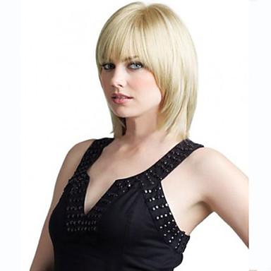 Női Közepes Szőke Egyenes Bretonnal Szintetikus haj Géppel készített jelmez paróka