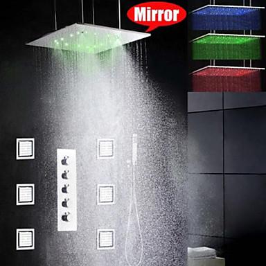 Duş Musluğu - Çağdaş - LED / Yağmur Duşları / Yandan Dökülen / El Duşu Dahil - Pirinç (Krom)