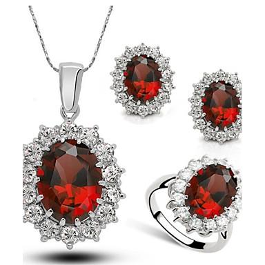 Mulheres Cristal Conjunto de jóias Anéis / Brincos / Colares - Vermelho / Verde / Azul Para Casamento / Festa / Diário