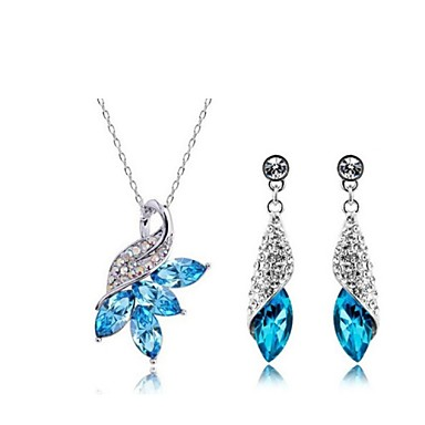 Women's Crystal Jewelry Set - Crystal Include White / Yellow / Blue For Wedding / Party / Daily / Earrings / Necklace