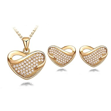 Women's Wedding Party Birthday Engagement Gift Daily Casual Crystal Earrings Necklaces