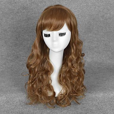 Syntetiske parykker / Kostymeparykker Bølget Syntetisk hår Brun Parykk Dame Medium Halloween parykk / Karneval Parykk Lokkløs