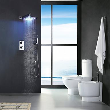 Çağdaş Duvara Monte Edilmiş Yağmur Duşları El Duşu Dahil Termostatik LED Pirinç Vana İki Kolları Dört Delik Krom, Duş Musluğu