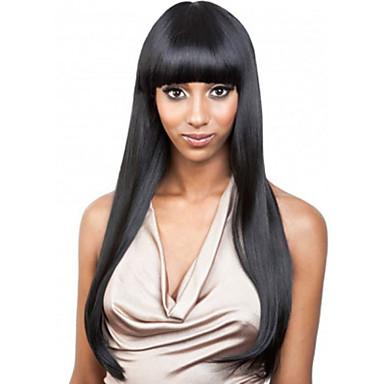 africano peruca preta moda feminina cabelos longos puro golpe perucas de fibras químicas