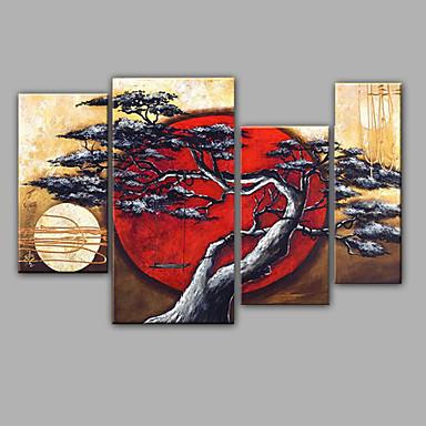 Kézzel festett Virágos / BotanikusRealizmus Négy elem Vászon Hang festett olajfestmény For lakberendezési