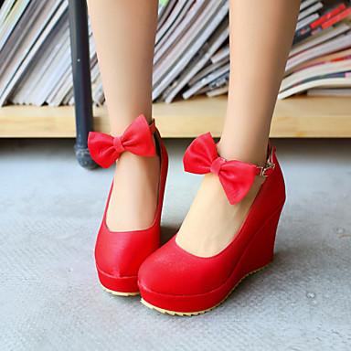 Feminino Sapatos Courino Primavera Verão Outono Plataforma Laço para Casual Social Preto Prata Bege Vermelho