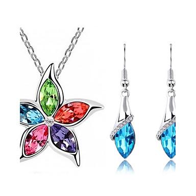 Kadın's Kristal Takı Seti - Kristal Çiçek Dahil etmek Mavi / Pembe / Gökküşağı Uyumluluk Düğün / Parti / Günlük / Kolczyki / Kolyeler