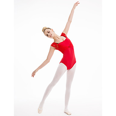 Balet Leotards Damskie Dla dzieci Wydajność Trening Bawełna Koronka Lycra 1 sztuka Trykot opinający ciało