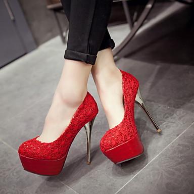 Magassarkú - Stiletto - Női cipő - Magassarkú - Szabadidős / Irodai / Alkalmi - Bőrutánzat - Fekete / Piros / Fehér / Bézs