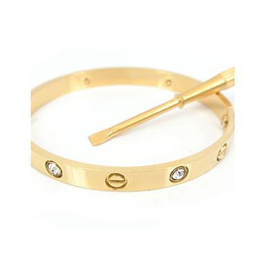 Női Karperecek Klasszikus Divat Rozsdamentes acél Arannyal bevont Hamis gyémánt Circle Shape Ékszerek KompatibilitásEsküvő Parti Napi